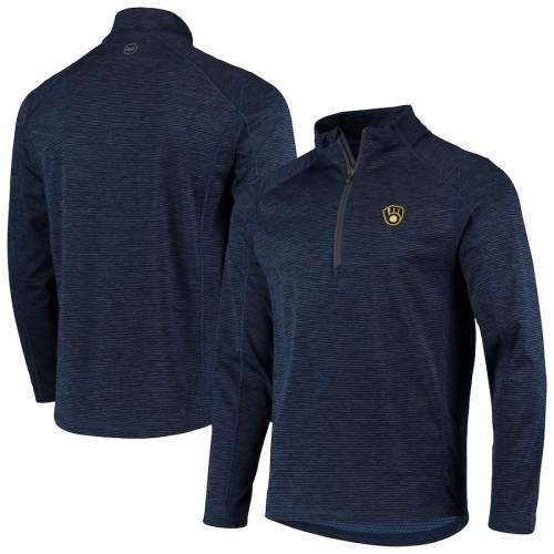 VINEYARD VINES ミルウォーキー ブルワーズ ラグラン 紺 ネイビー メンズファッション コート ジャケット メンズ 【 Milwaukee Brewers Striped Sankaty Raglan Half-zip Jacket - Navy 】 Navy