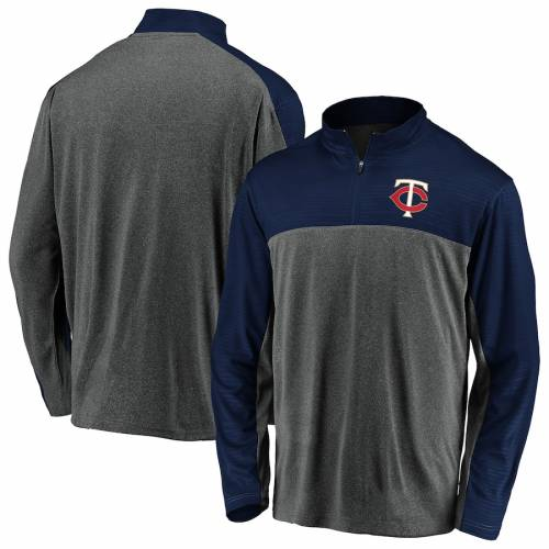FANATICS BRANDED ミネソタ ツインズ メンズファッション コート ジャケット メンズ 【 Minnesota Twins Windshirt Quarter-zip Pullover Jacket - Charcoal/navy 】 Charcoal/navy