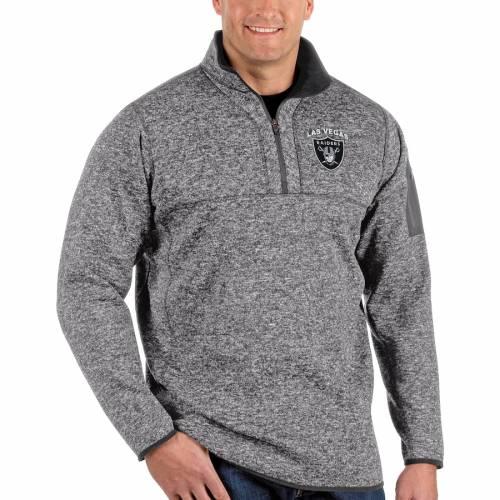 ANTIGUA レイダース チャコール メンズファッション コート ジャケット メンズ 【 Las Vegas Raiders Fortune Big And Tall Quarter-zip Pullover Jacket - Charcoal 】 Heather Charcoal