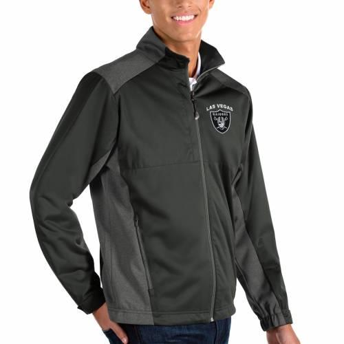 ANTIGUA レイダース 黒 ブラック メンズファッション コート ジャケット メンズ 【 Las Vegas Raiders Revolve Full-zip Jacket - Black 】 Charcoal