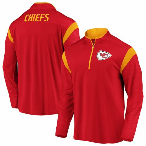 NFL PRO LINE BY FANATICS BRANDED カンザス シティ チーフス ディフェンダー 赤 レッド メンズファッション コート ジャケット メンズ 【 Kansas City Chiefs Iconic Defender Mission Quarter-zip Pullover Jacket - Re