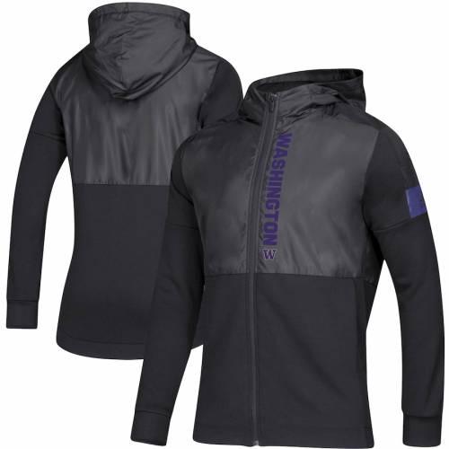 アディダス ADIDAS ワシントン サイドライン ゲーム 黒 ブラック メンズファッション コート ジャケット メンズ 【 Washington Huskies 2019 Sideline Game Mode Full-zip Jacket - Black 】 Black