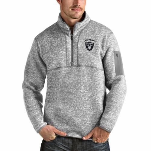ANTIGUA レイダース チャコール メンズファッション コート ジャケット メンズ 【 Las Vegas Raiders Fortune Quarter-zip Pullover Jacket - Charcoal 】 Heather Gray