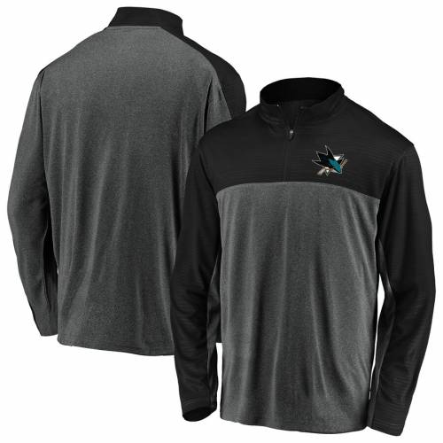 FANATICS BRANDED メンズファッション コート ジャケット メンズ 【 San Jose Sharks Windshirt Quarter-zip Pullover Jacket - Charcoal/black 】 Charcoal/black