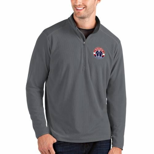 ANTIGUA ワシントン ウィザーズ メンズファッション コート ジャケット メンズ 【 Washington Wizards Big And Tall Glacier Quarter-zip Pullover Jacket - Gray/gray 】 Gray