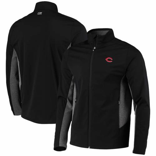 CUTTER & BUCK シンシナティ レッズ 黒 ブラック メンズファッション コート ジャケット メンズ 【 Cincinnati Reds Cutter And Buck Navigate Weathertec Full-zip Jacket - Black 】 Black