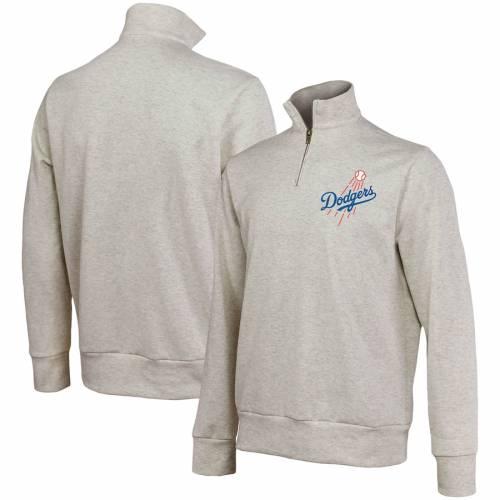 MAJESTIC THREADS ドジャース ? メンズファッション コート ジャケット メンズ 【 Los Angeles Dodgers Quarter-zip Jacket ? Oatmeal 】 Zip Jacket ? Oatmeal