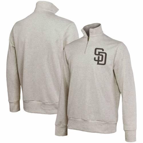 MAJESTIC THREADS パドレス ? メンズファッション コート ジャケット メンズ 【 San Diego Padres Quarter-zip Jacket ? Oatmeal 】 Zip Jacket ? Oatmeal