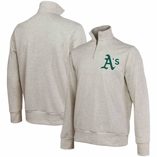 MAJESTIC THREADS オークランド ? メンズファッション コート ジャケット メンズ 【 Oakland Athletics Quarter-zip Jacket ? Oatmeal 】 Zip Jacket ? Oatmeal