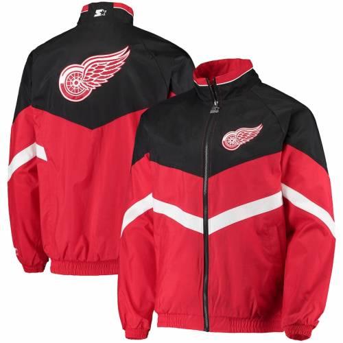 スターター STARTER デトロイト 赤 レッド ラグラン メンズファッション コート ジャケット メンズ 【 Detroit Red Wings The Bench Coach Raglan Full-zip Jacket - Red/black 】 Red/black