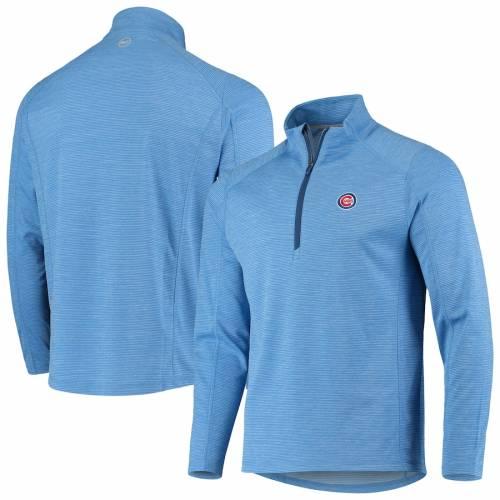 VINEYARD VINES シカゴ カブス ラグラン 青 ブルー メンズファッション コート ジャケット メンズ 【 Chicago Cubs Striped Sankaty Raglan Half-zip Jacket - Light Blue 】 Light Blue