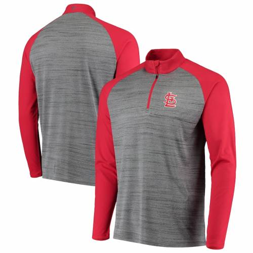 LEVELWEAR カーディナルス バンダル ラグラン St. メンズファッション コート ジャケット メンズ 【 St. Louis Cardinals Vandal Raglan Quarter-zip Pullover Jacket - Gray/red 】 Gray/red