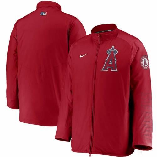 ナイキ NIKE エンジェルス オーセンティック コレクション 赤 レッド メンズファッション コート ジャケット メンズ 【 Los Angeles Angels Authentic Collection Dugout Full-zip Jacket - Red 】 Red