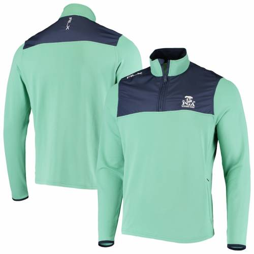 RLX メンズファッション コート ジャケット メンズ 【 2020 Pga Championship Brushed Back Thermal Half-zip Pullover Jacket - Green/navy 】 Green/navy