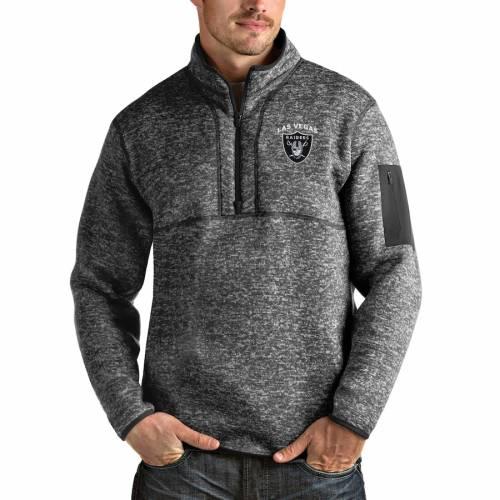 ANTIGUA レイダース チーム チャコール メンズファッション コート ジャケット メンズ 【 Las Vegas Raiders Team Fortune Quarter-zip Pullover Jacket - Charcoal 】 Charcoal