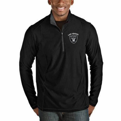ANTIGUA レイダース ヘザー 黒 ブラック メンズファッション コート ジャケット メンズ 【 Las Vegas Raiders Tempo Quarter-zip Pullover Jacket - Heather Black 】 Heather Black