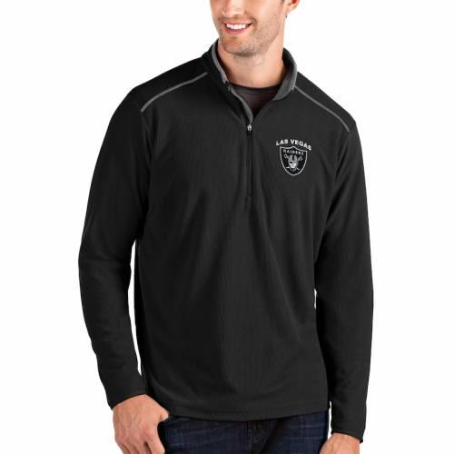 ANTIGUA レイダース メンズファッション コート ジャケット メンズ 【 Las Vegas Raiders Glacier Quarter-zip Pullover Jacket - Black/silver 】 Black
