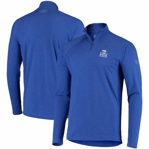 アンダーアーマー UNDER ARMOUR パフォーマンス ラグラン 青 ブルー メンズファッション コート ジャケット メンズ 【 2020 Pga Championship Performance Tri-blend Raglan Quarter-zip Jacket - Blue 】 Heather Roya