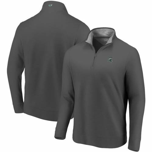 VINEYARD VINES ミシガン スケートボード ヘザー チャコール メンズファッション コート ジャケット メンズ 【 Michigan State Spartans Saltwater Quarter-zip Jacket - Heather Charcoal 】 Heather Charcoal