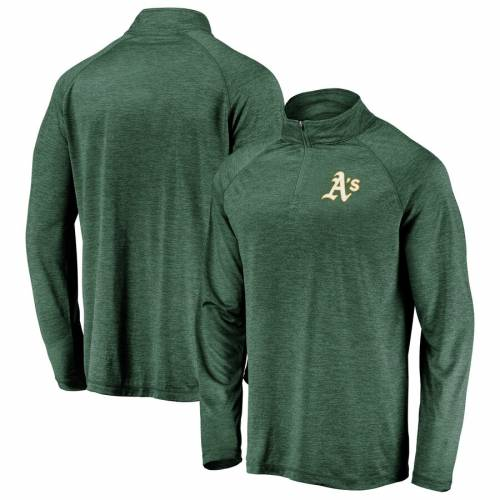 FANATICS BRANDED オークランド ロゴ ラグラン 緑 グリーン 【 RAGLAN GREEN FANATICS BRANDED OAKLAND ATHLETICS ICONIC STRIATED PRIMARY LOGO QUARTERZIP PULLOVER JACKET 】 メンズファッション コート ジャケット