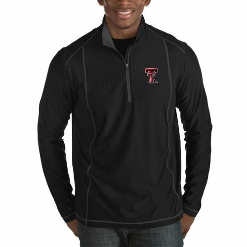 ANTIGUA テキサス テック 赤 レッド レイダース 黒 ブラック メンズファッション コート ジャケット メンズ 【 Texas Tech Red Raiders Tempo Half-zip Pullover Big And Tall Jacket - Black 】 Black