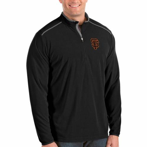 ANTIGUA ジャイアンツ 黒 ブラック メンズファッション コート ジャケット メンズ 【 San Francisco Giants Big And Tall Glacier Quarter-zip Pullover Jacket - Black 】 Black