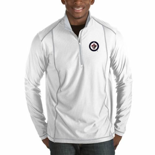 ANTIGUA ジェッツ チャコール メンズファッション コート ジャケット メンズ 【 Winnipeg Jets Tempo Desert Dry 1/2-zip Pullover Jacket - Charcoal 】 White