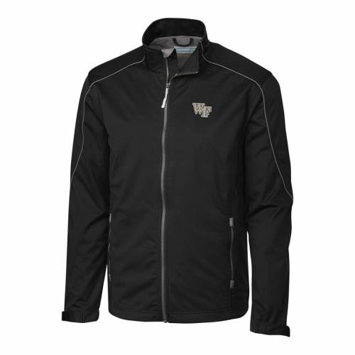 CUTTER & BUCK フォレスト 黒 ブラック メンズファッション コート ジャケット メンズ 【 Wake Forest Demon Deacons Cutter And Buck Big And Tall Weathertec Opening Day Full Zip Jacket - Black 】 Black