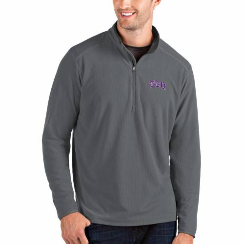 ANTIGUA メンズファッション コート ジャケット メンズ 【 Tcu Horned Frogs Glacier Quarter-zip Pullover Jacket - Gray/charcoal 】 Gray