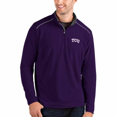 ANTIGUA メンズファッション コート ジャケット メンズ 【 Tcu Horned Frogs Glacier Quarter-zip Pullover Jacket - Gray/charcoal 】 Purple