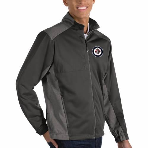 ANTIGUA ジェッツ チャコール メンズファッション コート ジャケット メンズ 【 Winnipeg Jets Revolve Ii Full Zip Jacket - Charcoal 】 Charcoal