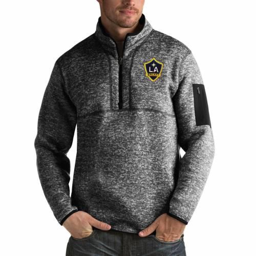 ANTIGUA 黒 ブラック メンズファッション コート ジャケット メンズ 【 La Galaxy Fortune Quarter-zip Pullover Jacket - Black 】 Black