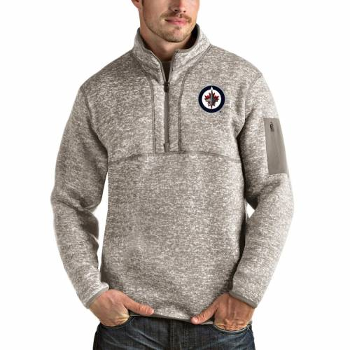 ANTIGUA ジェッツ チャコール メンズファッション コート ジャケット メンズ 【 Winnipeg Jets Fortune 1/2-zip Pullover Jacket - Charcoal 】 Oatmeal