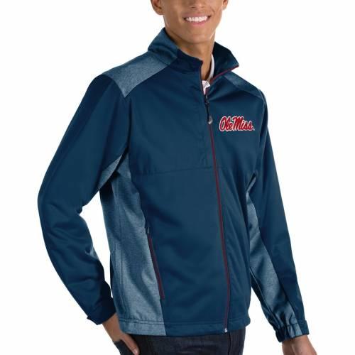 ANTIGUA チャコール メンズファッション コート ジャケット メンズ 【 Ole Miss Rebels Revolve Full-zip Jacket - Charcoal 】 Navy