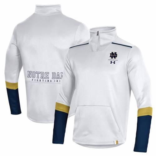アンダーアーマー UNDER ARMOUR ロゴ 緑 グリーン メンズファッション コート ジャケット メンズ 【 Notre Dame Fighting Irish Logo Quarter-zip Jacket - Green 】 White