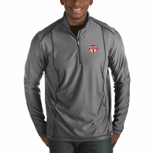 ANTIGUA トロント 黒 ブラック メンズファッション コート ジャケット メンズ 【 Toronto Fc Tempo Big And Tall Half-zip Pullover Jacket - Black 】 Heather Black