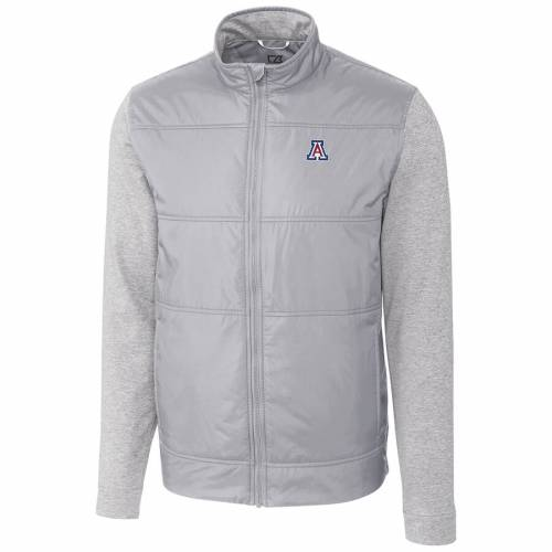 CUTTER & BUCK アリゾナ ステルス 銀色 シルバー メンズファッション コート ジャケット メンズ 【 Arizona Wildcats Cutter And Buck Stealth Full-zip Jacket - Silver 】 Silver