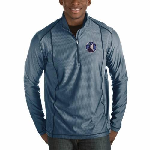 ANTIGUA ミネソタ ティンバーウルブズ チャコール メンズファッション コート ジャケット メンズ 【 Minnesota Timberwolves Tempo Big And Tall Half-zip Pullover Jacket - Charcoal 】 Navy