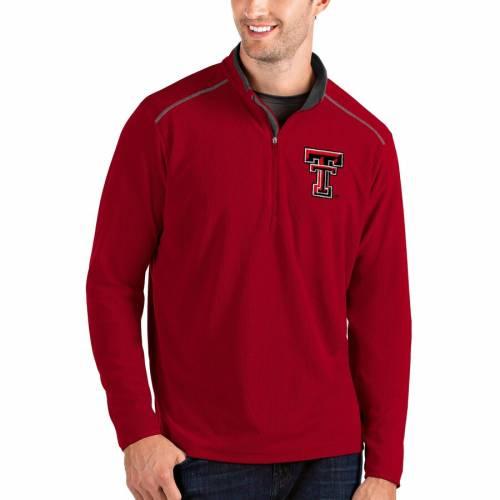 ANTIGUA テキサス テック 赤 レッド レイダース メンズファッション コート ジャケット メンズ 【 Texas Tech Red Raiders Glacier Quarter-zip Pullover Jacket - Gray/charcoal 】 Red