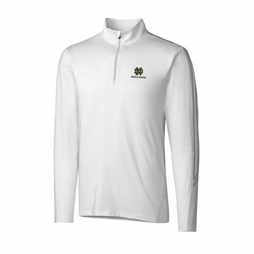 CUTTER & BUCK 白 ホワイト メンズファッション コート ジャケット メンズ 【 Notre Dame Fighting Irish Cutter And Buck Drytec Pennant Sport Half-zip Pullover Jacket - White 】 White