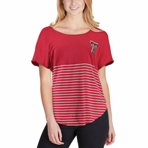 スポーツブランド カジュアル ファッション スピリットジャージー 入荷予定 SPIRIT JERSEY ジャージー テキサス テック 赤 レッド Tシャツ レディース キサステック RED レイダース ストライプ 新作続 WOMEN'S COLORBLOCK レッドレイダース STRIPE