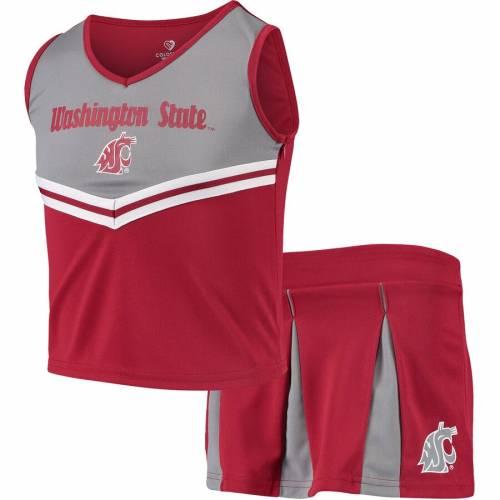 COLOSSEUM ワシントン スケートボード 子供用 キッズ ベビー マタニティ ジュニア 【 Washington State Cougars Youth Girls Pom Pom Cheer Set - Crimson 】 Crimson