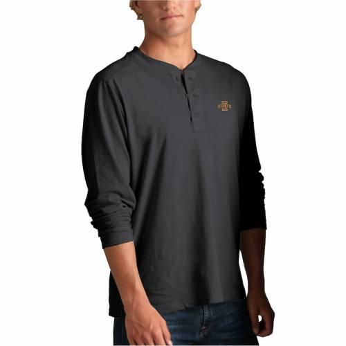 VANTAGE APPAREL スケートボード ヘンリー Tシャツ 黒 ブラック メンズファッション トップス カットソー メンズ 【 Iowa State Cyclones Cambridge Henley 3/4-sleeve T-shirt - Black 】 Black