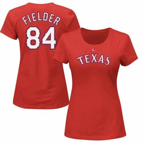 マジェスティック MAJESTIC テキサス レンジャーズ レディース Tシャツ 赤 レッド レディースファッション トップス カットソー 【 Prince Fielder Texas Rangers Womens Name And Number T-shirt - Red 】 Red