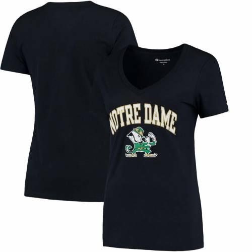 チャンピオン CHAMPION レディース ロゴ ブイネック Tシャツ 紺 ネイビー レディースファッション トップス カットソー 【 Notre Dame Fighting Irish Womens Arch Logo V-neck T-shirt - Navy - 】 Navy