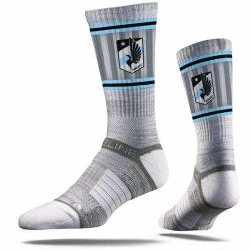 STRIDELINE ミネソタ プレミアム ソックス 靴下 黒 ブラック インナー 下着 ナイトウエア メンズ 下 レッグ 【 Minnesota United Fc Premium Crew Socks - Black 】 Gray