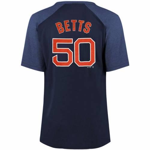 マジェスティック MAJESTIC ボストン 赤 レッド レディース ラグラン Tシャツ 紺 ネイビー レディースファッション トップス カットソー 【 Mookie Betts Boston Red Sox Womens Plus Size Name And Number 3/