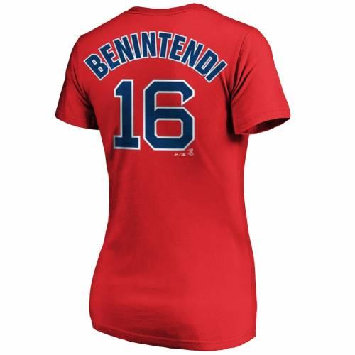 マジェスティック MAJESTIC ボストン 赤 レッド レディース ブイネック Tシャツ レディースファッション トップス カットソー 【 Andrew Benintendi Boston Red Sox Womens Name And Number V-neck T-shirt - Red