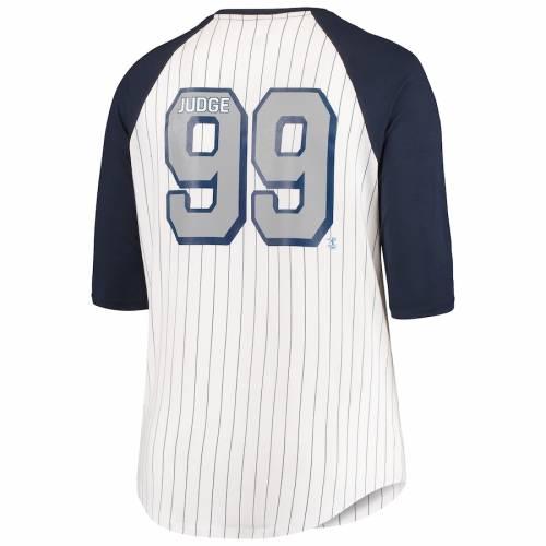 5TH & OCEAN BY NEW ERA ヤンキース レディース ラグラン Tシャツ レディースファッション トップス カットソー 【 Aaron Judge New York Yankees 5th And Ocean By New Era Womens Plus Size Player Pinstripe Raglan 3/4-