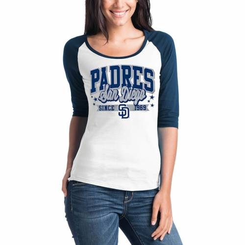 5TH & OCEAN BY NEW ERA パドレス レディース チーム ラグラン Tシャツ レディースファッション トップス カットソー 【 San Diego Padres 5th And Ocean By New Era Womens Team Banner 3/4-sleeve Raglan T-shirt - Whi